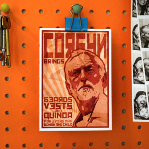 corbyn brings beards vest and quinoa for every man woman and child postcard